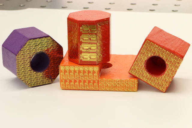 Electronic stickers can turn ordinary toy blocks into high-tech sensors within the 'Internet of Things.' (Image courtesy of Purdue University/Chi Hwan Lee.)