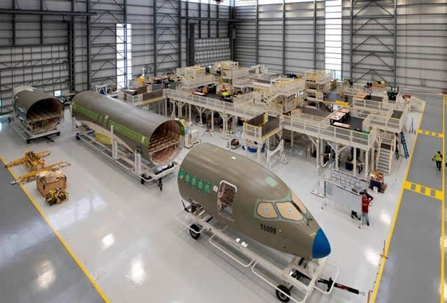 A220s in final assembly in the Airbus Mobile, AL factory. (Image courtesy of Airbus.)