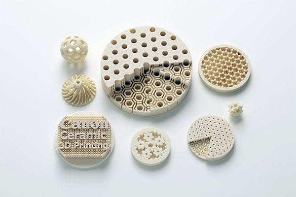 3D printed ceramic parts [Source: Canon]
