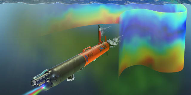 An artist's visualization of Harald in the ocean, detecting and measuring chlorophyll a as an indication of phytoplankton amounts and locations. (Image courtesy of David Fierstein and Arild Hareide.)