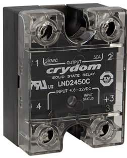 The Sensata–Crydom LND2450C SSR with an IP20 safety cover. (Image courtesy of Sensata.)