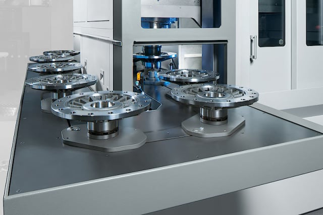 EMAG's inverted vertical lathes offer built-in automation. (Image courtesy of EMAG.)