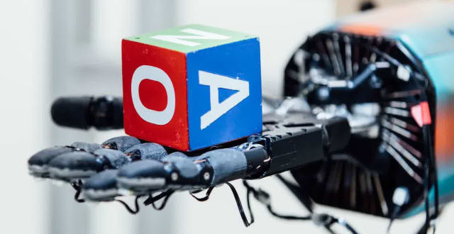 "Currently, machine-learning is only being used by robotics in Open AI's Dactyl experiment, which uses reinforcement learning to ""learn dexterous in-hand manipulation policies which can perform vision-based object reorientation on a physical Shadow Dexterous Hand."" (Image courtesy of Open AI.)"