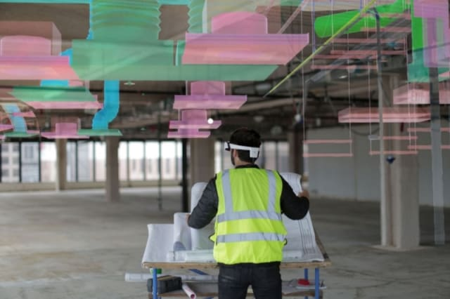 This AR application from the Worksense productivity suite allows users to leverage high-resolution 3D models from Autodesk BIM 360, enabling users to create full-scale 1:1 walkthroughs of 3D model assets. This will allow architects, structural engineers and construction operators to stay on the same page through multiple stages of design and construction. This will also enable these parties to iterate with greater expedience and less delay between office and on-site environments. (Image courtesy of DAQRI.)