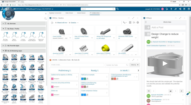One view of the user interface of the 3DEXPERIENCE platform. Note that the lower left of the image features a navigation element for multiple applications that are all available through a common interface. [Click to expand] (Image courtesy of Dassault Systèmes.)