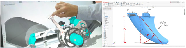 Manipulating a model with touch; adding markup on touch devices. (Image courtesy of SOLIDWORKS.)