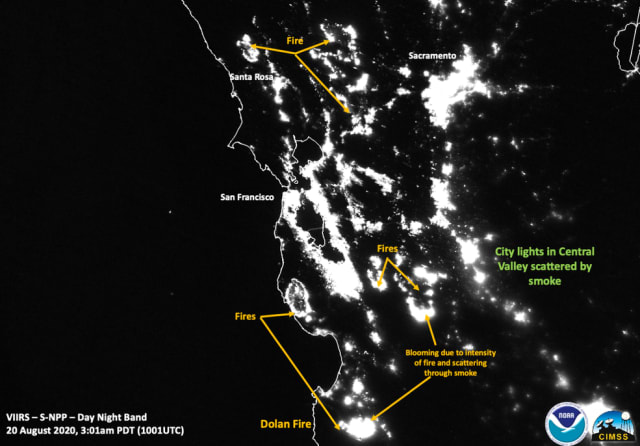 Nighttime image of the California fires with city lights scattered by smoke. (Image courtesy of NOAA/NASA/William Straka U of W-Madison/CIMSS/SSEC.)