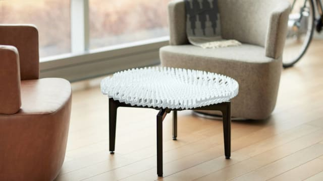 Partially 3D printed furniture from Steelcase & MIT's rapid liquid printing process. (Image courtesy of Fabbaloo.)