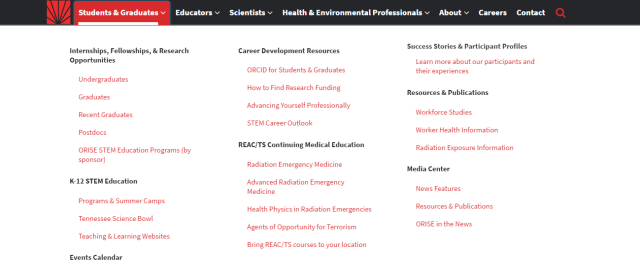 Students and Graduates section of the site. Get a job!  (Image courtesy of ORISE.)