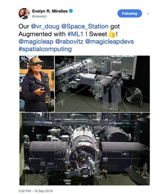 Chief Engineer Evelyn Miralles has been posting pictures and singing the praises of the Magic Leap One augmented reality headset and the killer app built by software engineers who work on DOUG. (Image courtesy of NASA.)