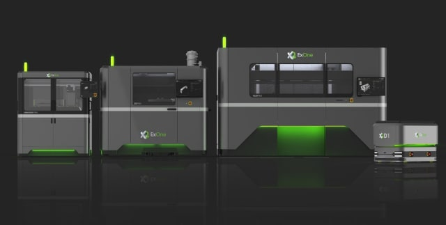 The new InnoventPro (left) alongside the X1 25Pro (middle) and X1 160Pro (right) metal binder jetting 3D printers. The new X1D1 automated guided vehicle is shown next to the X1 160Pro. (Image courtesy of ExOne.)