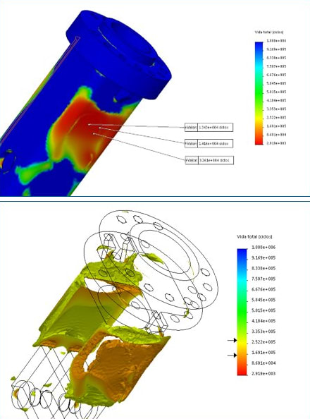Conducting fatigue failure analyses using SOLIDWORKS Simulation. (Images courtesy of SOLIDWORKS.)