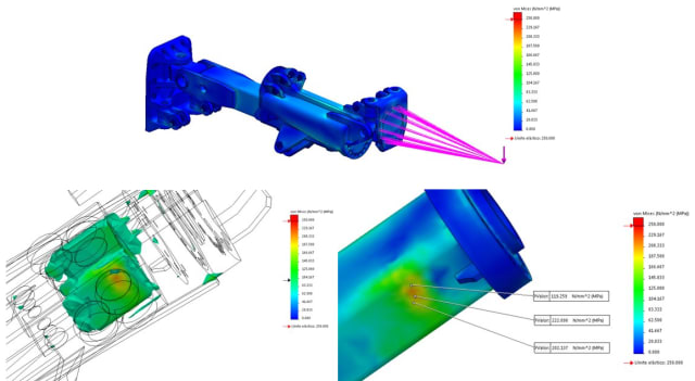 Static analysis in SOLIDWORKS Simulation. (Images courtesy of SOLIDWORKS.)