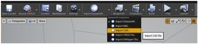 Figure 9. The top ribbon. Here's where you import with Datasmith.