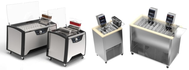 Finamac's Robopop Ultra and Robopop Start ice pop workstations. Finamac's current ice cream machines (left) have been recognized for their aesthetic superiority to ice cream machines of the past (right). (Image courtesy of Finamac.)