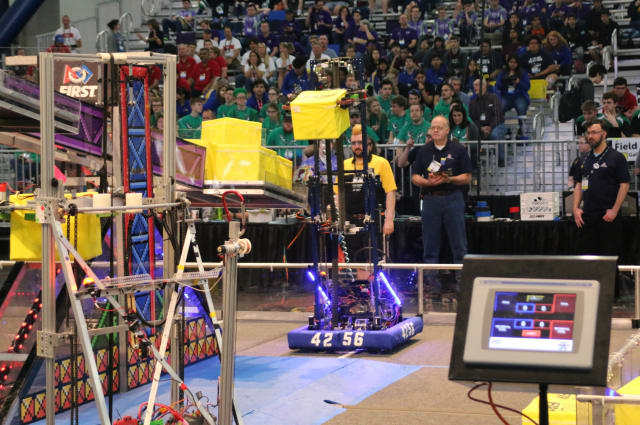 The Cyborg Cats' robot competing in the 2018 FIRST Robotics Competition. (Image courtesy of Cyborg Cats.)