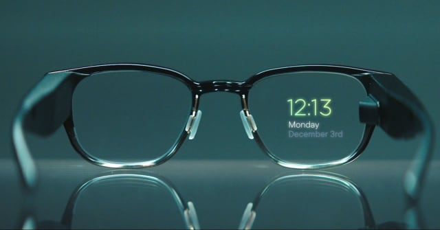 Pictured here is the second product from North, the USD 999 holographic Focals. Focals have a built-in display that displays information from your phone. Information like the weather and messages are visible and you can request information by asking Amazon's assistant Alexa. You can also order an Uber. Focals connect via Bluetooth to Android and iOS devices and are manipulated by a remote control you wear as a ring on your finger. You can interact with the glasses by clicking your ring hardware. North still provides customer care to customers who bought the Myo armband. (Image courtesy of North.)