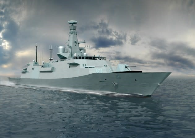 An artist's rendering of a Type 26 frigate.