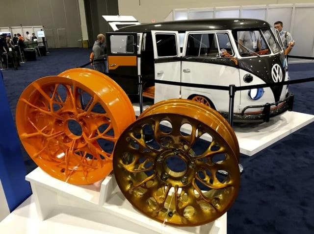 Autodesk's vision of the VW Microbus and its generatively designed wheels at Autodesk University 2019. (Image courtesy of Autodesk.)