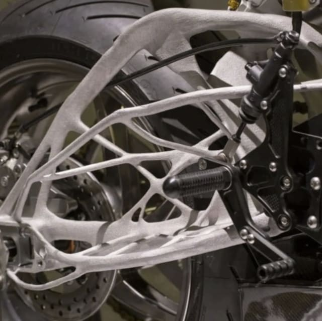 A Lightning Motorcycles swing arm designed with Autodesk's generative design. (Image courtesy of Lightning Motorcycles.)