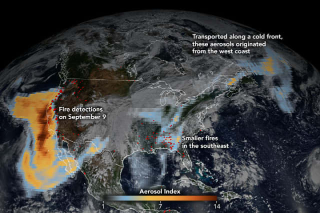 Satellites capture rare number of aerosol particles blowing throughout the U.S. (Image courtesy of NASA.)