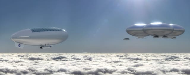 A rendering of what a permanent human presence in the clouds above Venus might look like. (Image courtesy of NASA Langley Research Center.)