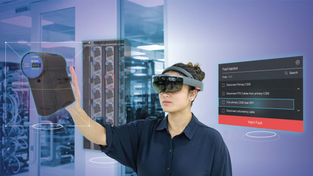 Honeywell's new HoloLens and Windows Mixed Reality training solution leverages the cloud to provide simulations of their C300 controller to help train new industrial employees. (Image courtesy of Honeywell.)