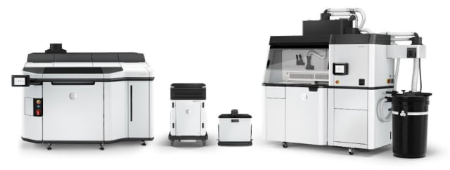 HP Jet Fusion 5200 3D Printing Solution, including Processing Station with Fast Cooling, and Natural Cooling Unit. (Image courtesy of HP.)