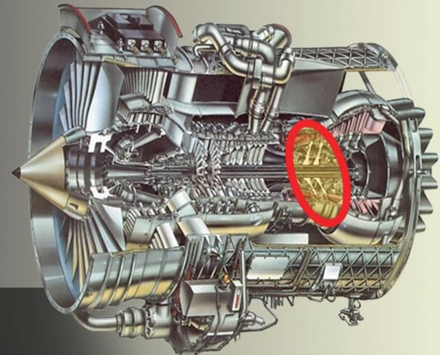 Rolls-Royce turbofan showing the interstage cavity where the heat produced by the fluid flow is used as a boundary condition for the structural members. (Image courtesy of ANSYS.)