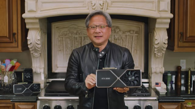 NVIDIA CEO Jensen Huang introducing the GeForce RTX 3090. (Image courtesy of NVIDIA.)