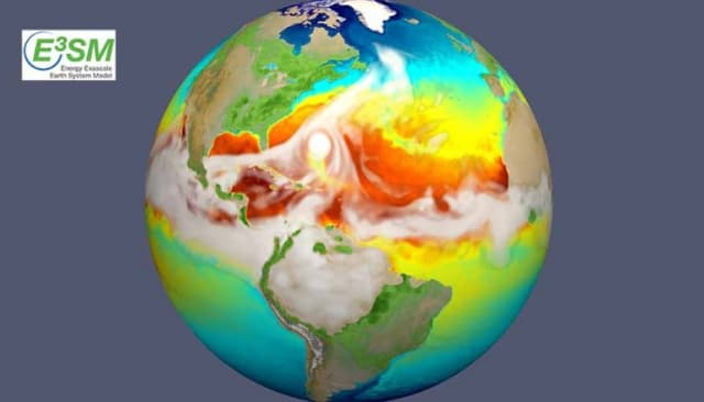 The high-resolution E3SM earth system model simulates the strongest storms with surface winds exceeding 150 mph—hurricanes that leave cold wakes that are 2 to 4 degrees Celsius cooler than their surroundings. This simulation represents how sea surface temperature changes evolve as a hurricane (seen here approaching the U.S. East Coast) moves across the Atlantic and how the resultant cold wake affects subsequent intensification of the next hurricane. (Image courtesy of E3SM.)