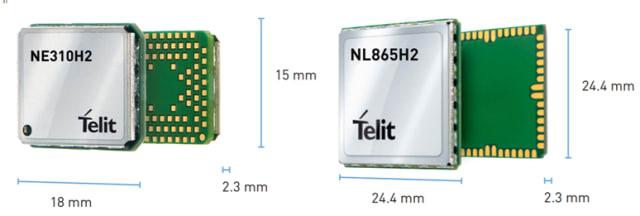 The new NE310H2-W1 and NL865H2-W1 NB-IoT modules. (Image courtesy of Telit.)