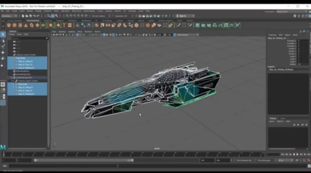 A spaceship design is transferred from Maya to Unity. (Image courtesy of Unity Technologies.)