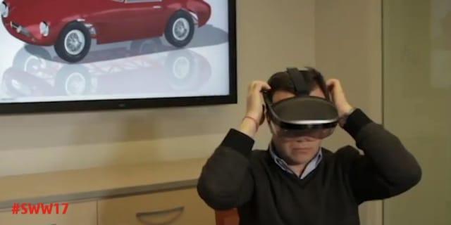 This snapshot of the video SOLIDWORKS CEO Gian Paolo Bassi presented at SOLIDWORKS World 2017 shows him using the Meta 2 AR headset that start-up Meta is bringing to market. An innovative start-up like Meta is only 1 of more than 750 other partners who work with SOLIDWORKS to synthesize and expand new experiences and services (Image courtesy of SOLIDWORKS.)