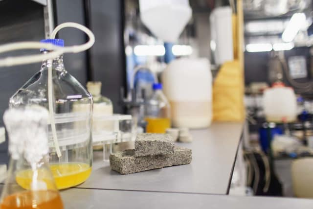 Shown are the various stages of bio-brick creation, from liquid urine to rock-solid brick. (Image courtesy of University of Cape Town.)