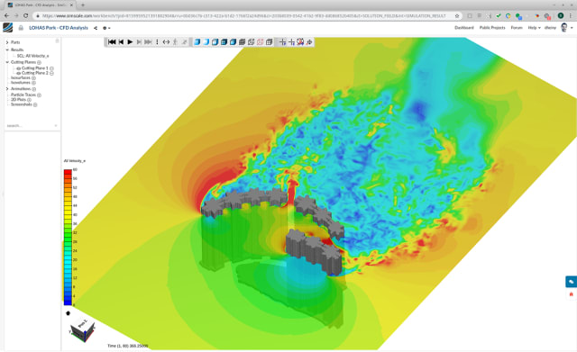 SimScalesimulation of wind loads on high-rise buildings in LOHAS Park in Hong Kong. (Image courtesy of SimScale.)