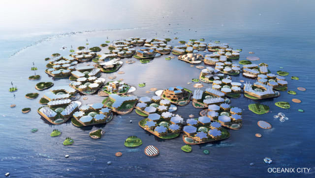 "Oceanix City is the newest generation of ""seasteads"": cities built for life on water. But can the city shed seasteading's difficult past? (Image courtesy of Oceanix.)"