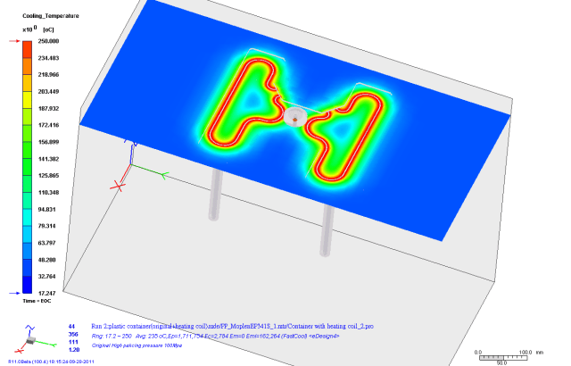 Hot runner simulation in Moldex3D. (Image courtesy of Moldex3D.)