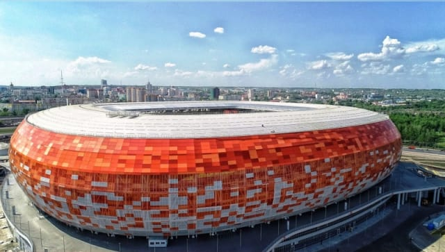 Saransk's Mordovia Arena, with its shape and color scheme based on the Republic of Mordovia's image of a setting sun, was one of the stadiums built with Tekla Structures. (Image courtesy of StadiumDB.)