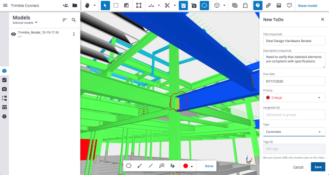 Mark up a 3D model and share it with the team using Trimble Connect. (Image courtesy of Trimble.)