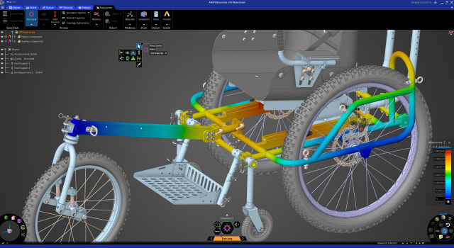 Structural analysis of a wheelchair with ANSYS Discovery.(Image courtesy of Onward Project LLC.)
