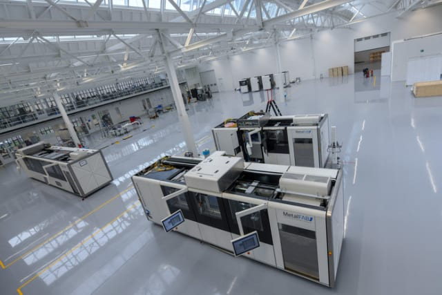 MetalFAB1 3D printing systems installed in a manufacturing facility. (Image courtesy of Additive Industries.)