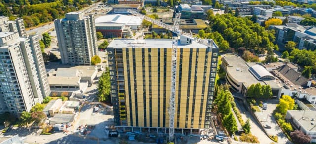 UBC's newest residence, Brock Commons, is a steel/wood/concrete hybrid with 70 percent wood fiber cladding. Fire-suppressant wood company M-Fire wants to break into the growing market for tall wood buildings. (Image courtesy of UBC News.)