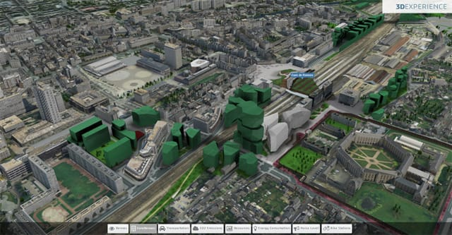 The city of Rennes, France, made into a virtual city through the 3DEXPERIENCity platform. (Image courtesy of Dassault Systèmes.)