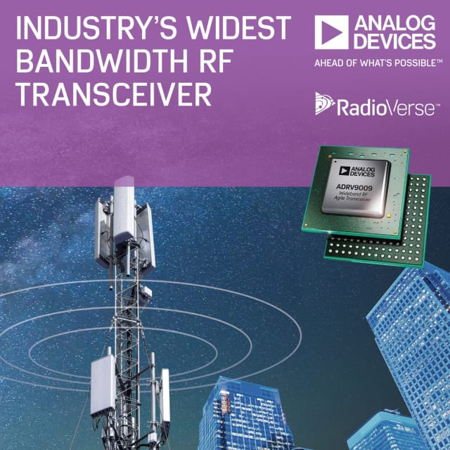 ADRV9009 RF transceiver. (Image courtesy of Analog Devices.)