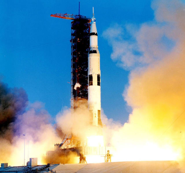 The Apollo 13 liftoff. (Image courtesy of NASA.)