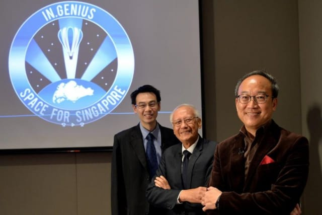 (Left to Right) SSTA Chairman Jonathan Hung, National Research Foundation Adviser Lui Pao Chen and In.Genius Founder Lim Seng. (Image courtesy of The Straits Times.)