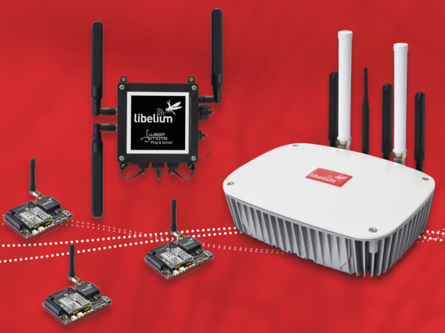 The Libelium Meshlium IoT Gateway (right) pictured next to other Libelium IoT solutions. (Image courtesy of Libelium.)