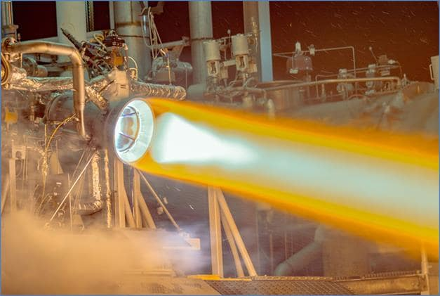 The thrust chamber assembly for Aerojet Rocketdyne's RL10 rocket engine undergoing a test fire at the company's facility in West Palm Beach, Fla. (Image courtesy of Aerojet Rocketdyne.)