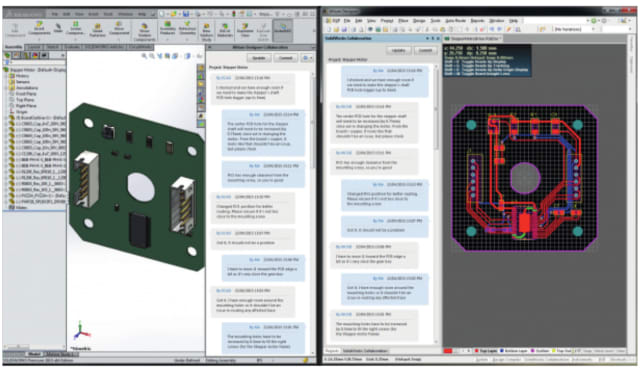 Screenshot from SOLIDWORKS and Altium Designer modeling a PCB. (Image courtesy of SOLIDWORKS.)